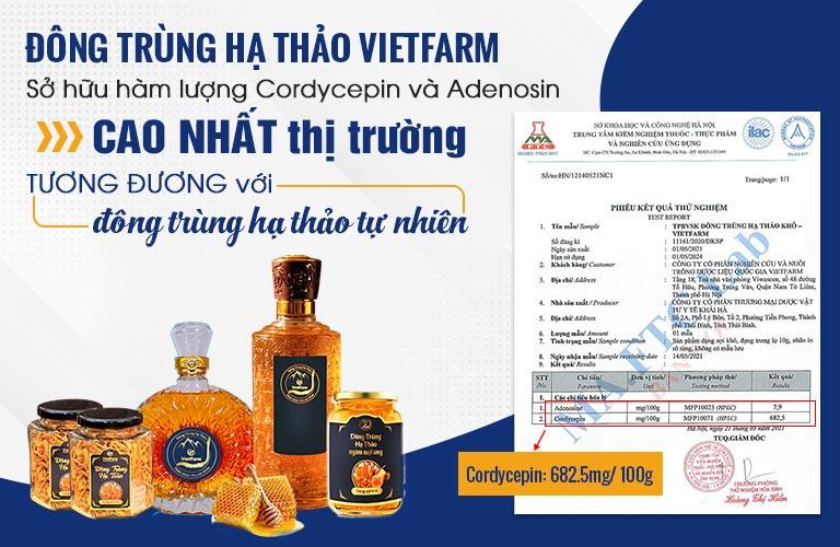 Phiếu kiểm nghiệm hàm lượng hoá chất sinh học quý trong Đông trùng hạ thảo Vietfarm